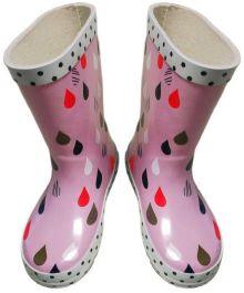 Škornji gumi dekliški roza št. 32