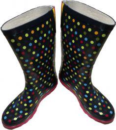 Škornji gumi ženski modri z barvnimi krogi št. 37