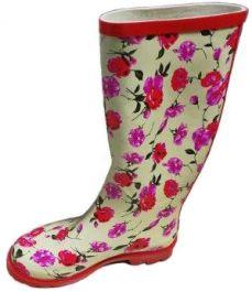 Škornji gumi ženski beli z rožicami št. 41