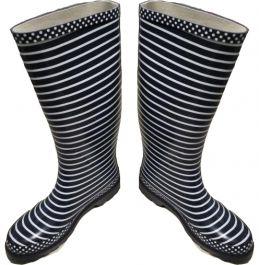 Škornji gumi ženski modri z belimi črtami št. 37