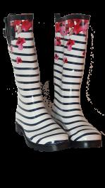 Škornji ženski visoki št. 37 beli s črtami