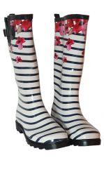 Škornji ženski visoki št. 38 beli s črtami