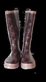 Škornji ženski visoki  št.42 rjavi z vzorcem