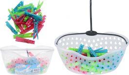 Košarica s ščipalkami za perilo 30kosov za perilo  (