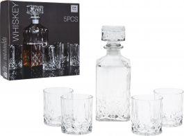 Steklenica / decanter za whisky  900 ml + 4 kozarci set  Koop.