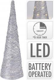 Stožec srebrni z 20 led lučkami, 40 cm, Koo.