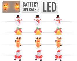 Lučke 20 led z božičnimi motivi baterijske, Koo.