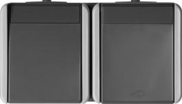 VTIČNICA+stikalo menjalno horizontalno sivo FONTANA TEM CF12GY-U