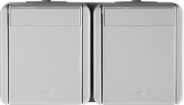 VTIČNICA šuko dvojna horizontalna bela IP44 FONTANA TEM CF10PW-U