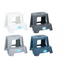 Stolček PVC  dve stopnici 35,5x35,5x27 cm razl. barve max nosilnost 45kg  Ed.