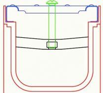 Pritrdilni element 2PR-WAVE AZ 110 za rešetko na kanaleti tipa AZ