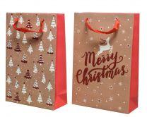 Darilna vrečka božična rdeča 8x20x30 cm, DSGlas