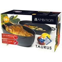 Ovalen pekač s pokrovom, 38x26cm aluminij/teflon, Taurus Ambition,  (