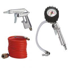 SET ZA KOMPRESOR 3/1 - EINHELL -Spriralna cev 4m -Pištola za izpihovanje -Pištola za polnjenje pnevmatik
