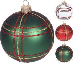 Bučka novoletna steklena karo zelena/bela/rdeča fi 60 mm, Koo.