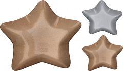 Krožnik steklen oblika zvezda 30cm novol. srebren ali zlat  Kop.
