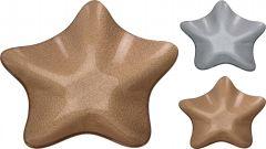 Krožnik steklen oblika zvezda 19,5cm novol. srebren ali zlat Kop.
